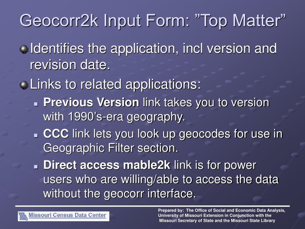 "Geocorr2k Input Form: ""Top Matter"""