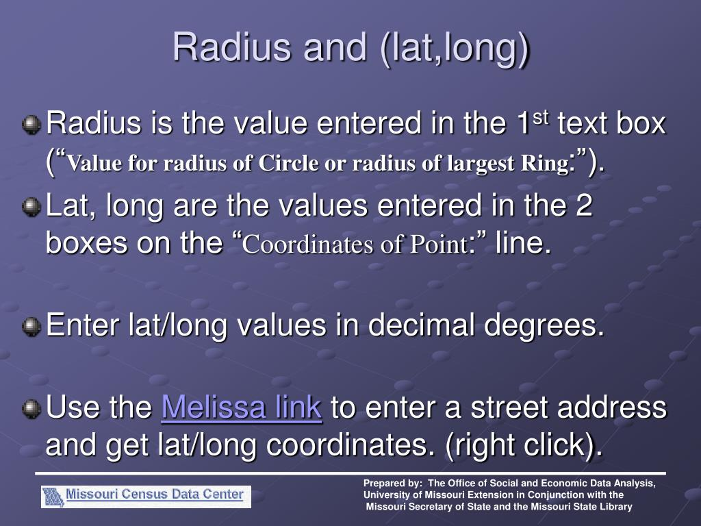 Radius and (lat,long)