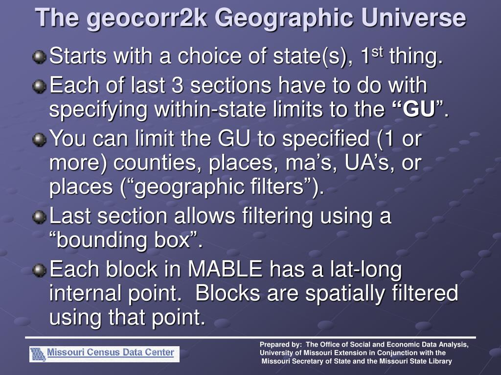 The geocorr2k Geographic Universe