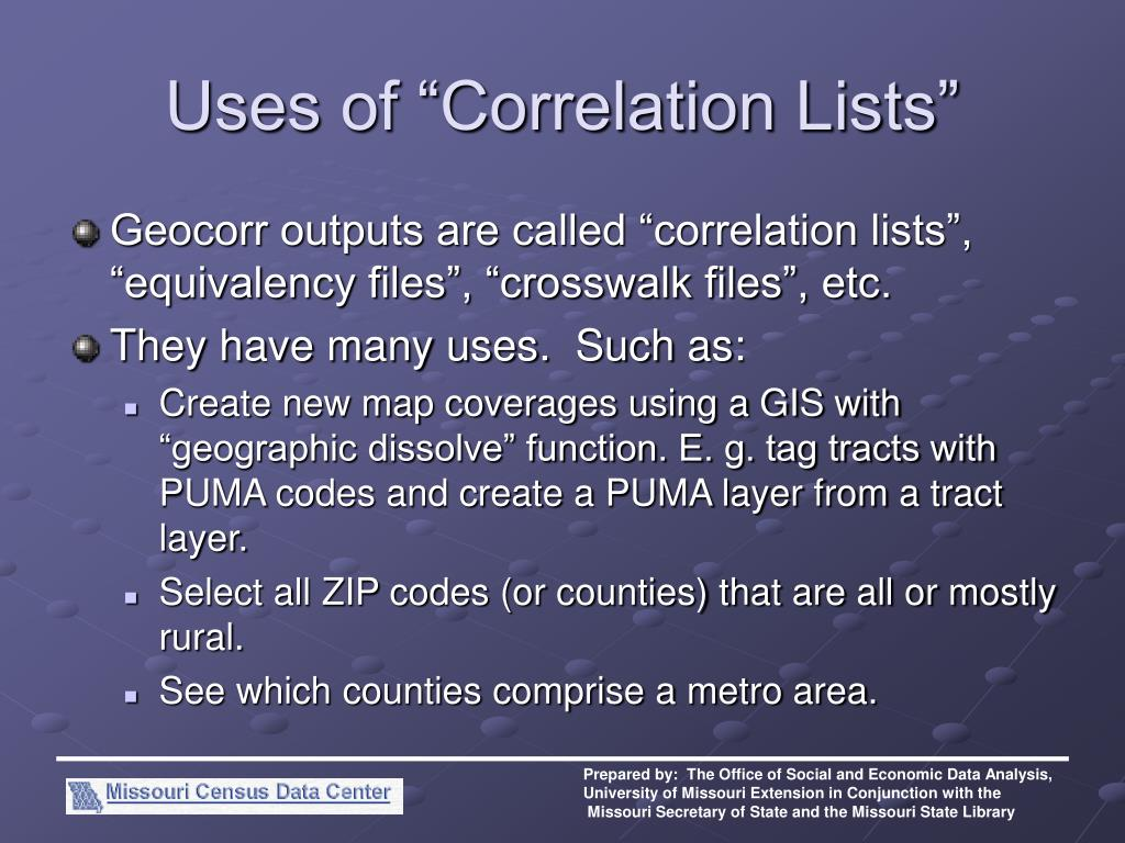 "Uses of ""Correlation Lists"""