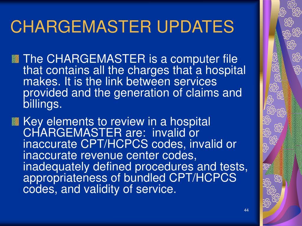 CHARGEMASTER UPDATES