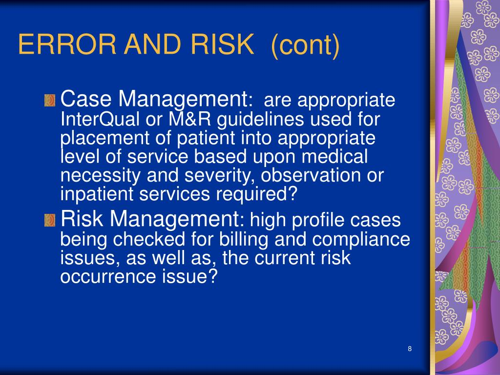ERROR AND RISK  (cont)