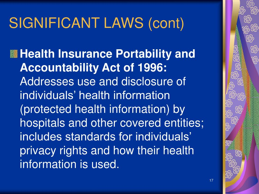 health insurance portability and accountability act Health insurance portability and accountability act (hipaa) (pdf): aoa receives health care fraud and abuse control (hcfac) funding as authorized by the health insurance portability and accountability act (hipaa) of 1996 the hcfac funds, which are received from the medicare trust fund, are used to support senior medicare patrol infrastructure.