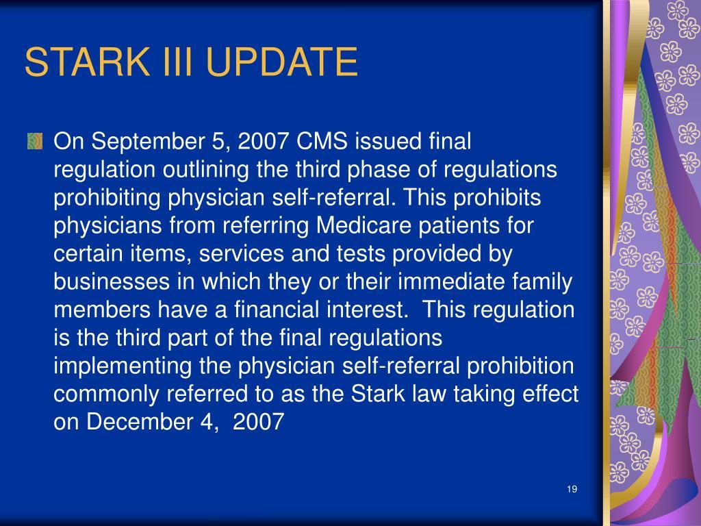 STARK III UPDATE