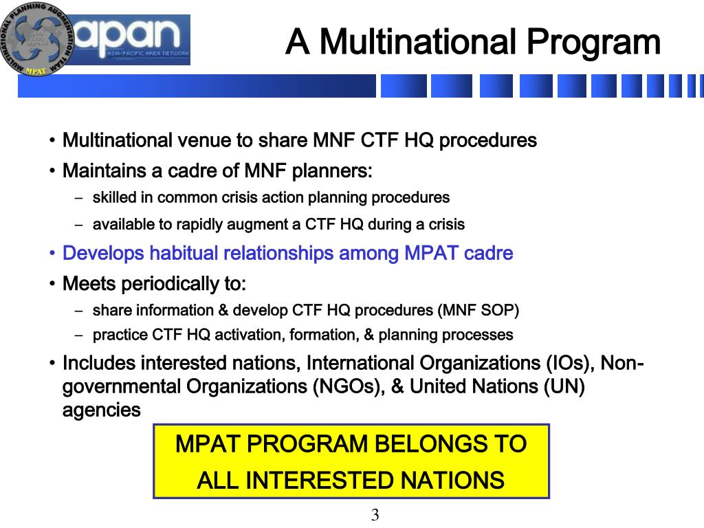 A Multinational Program