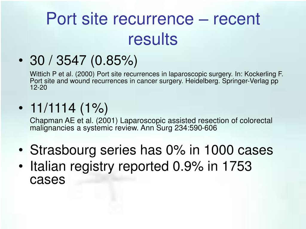 Port site recurrence – recent results