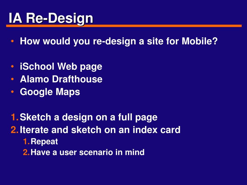 IA Re-Design