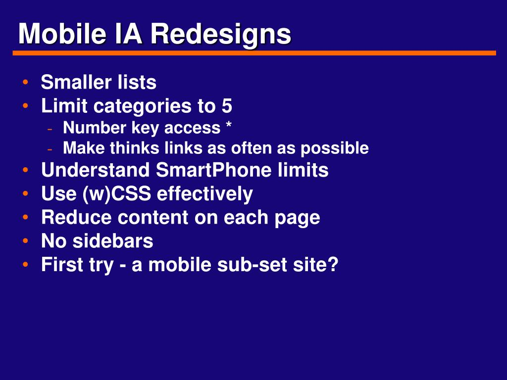 Mobile IA Redesigns