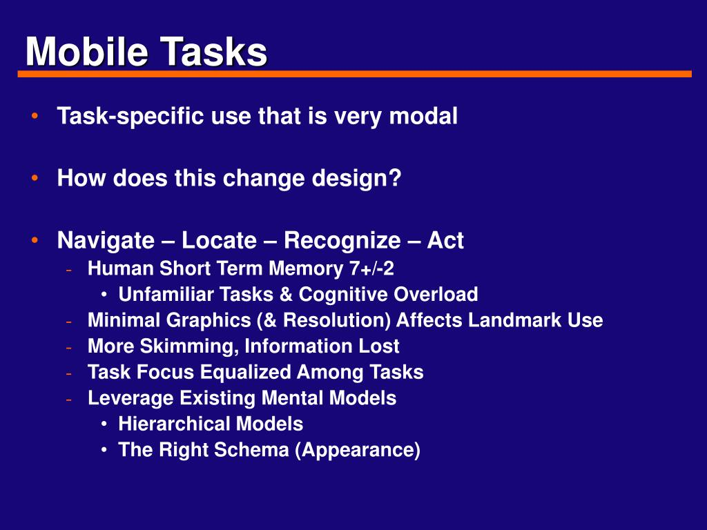 Mobile Tasks