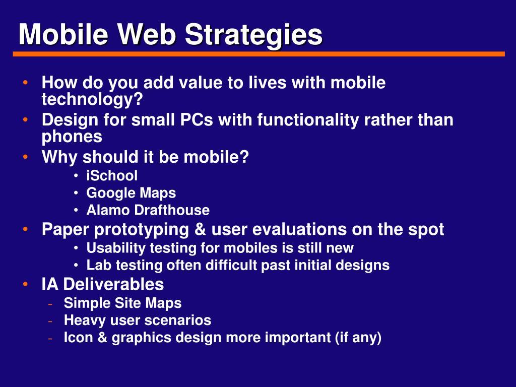Mobile Web Strategies