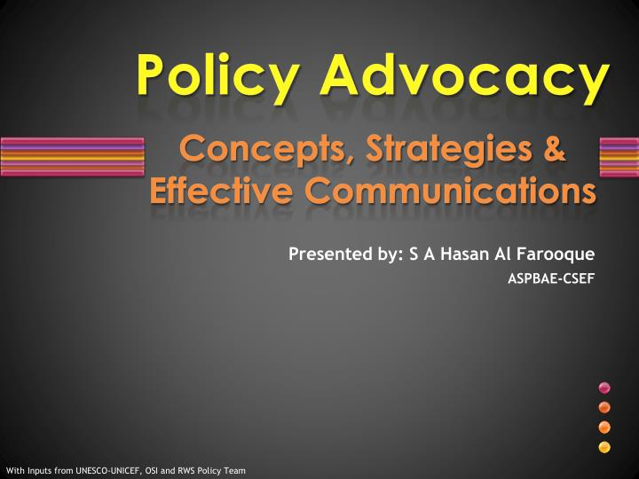 Policy advocacy concepts strategies effective communications l.jpg
