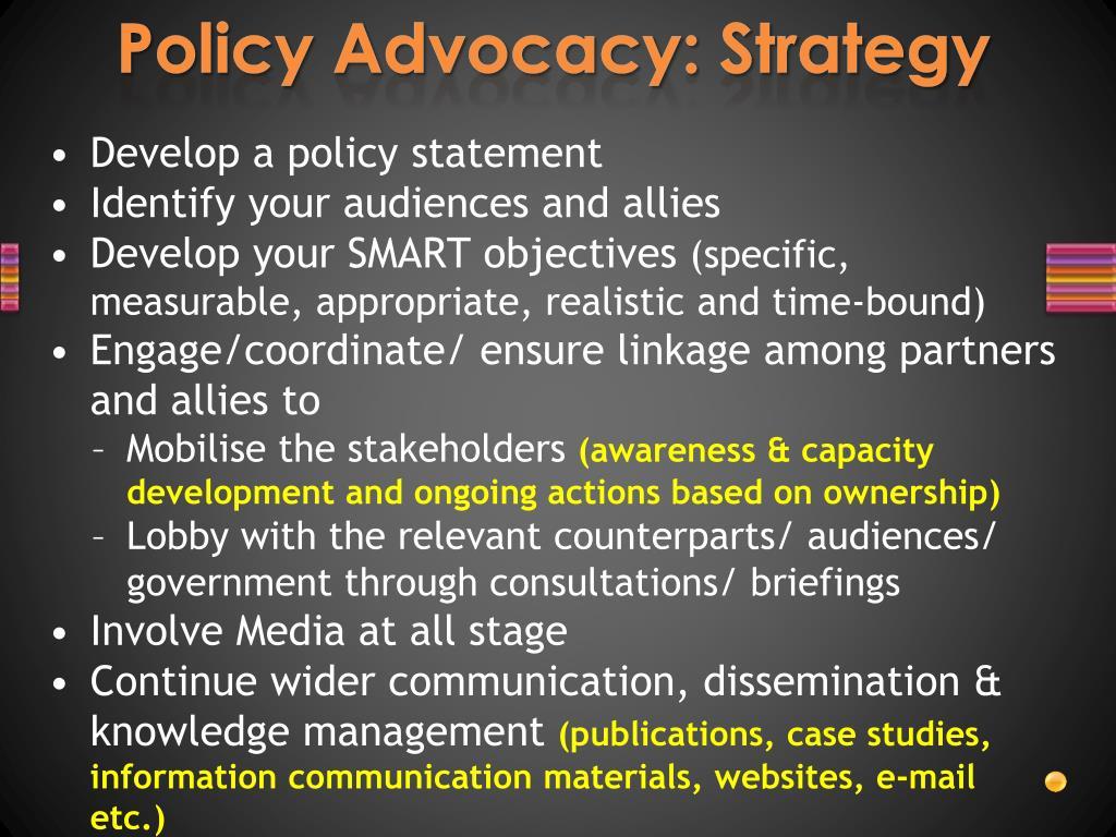 Policy Advocacy: Strategy