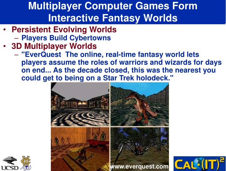 Multiplayer Computer Games Form Interactive Fantasy Worlds