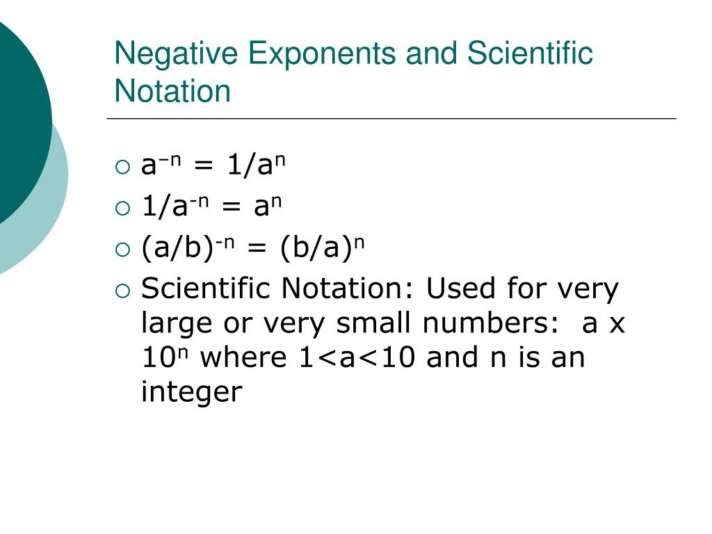 how to write negative numbers in scientific notation