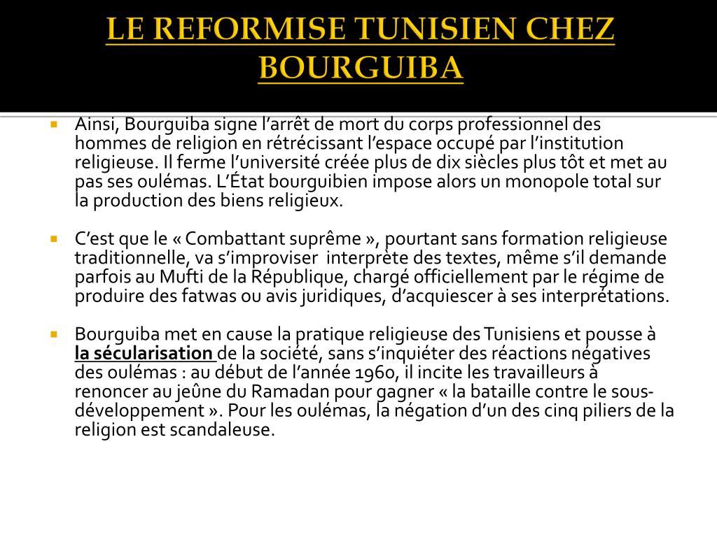 LE REFORMISE TUNISIEN CHEZ BOURGUIBA