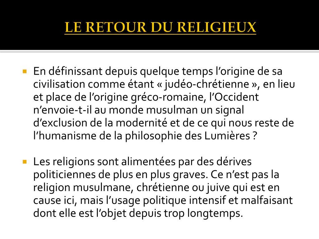 LE RETOUR DU RELIGIEUX