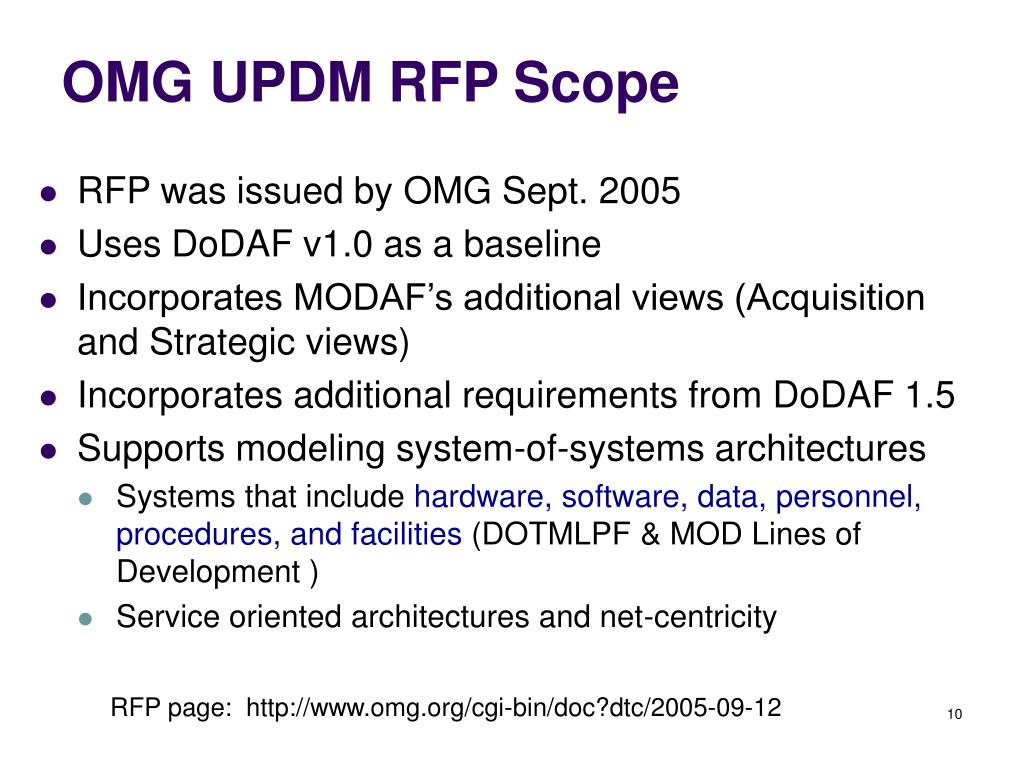 OMG UPDM RFP Scope