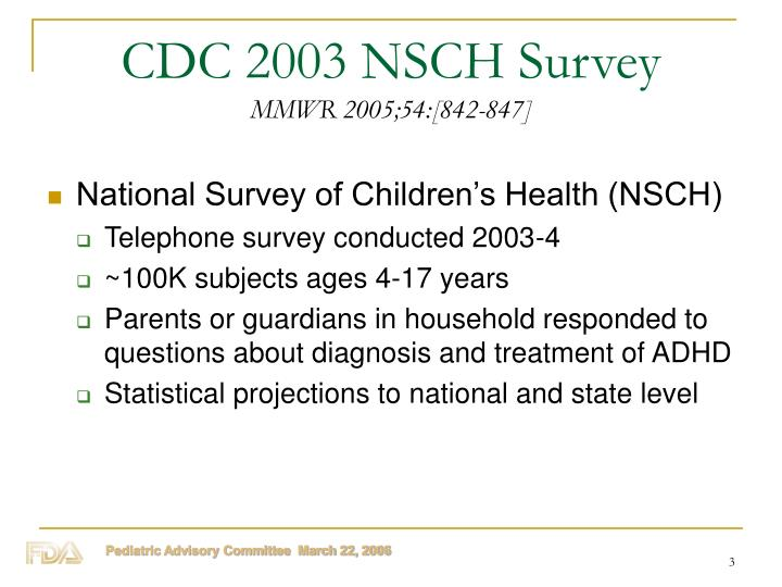 Cdc 2003 nsch survey mmwr 2005 54 842 847