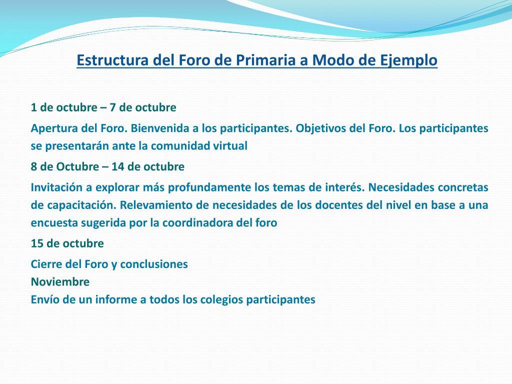 Estructura del Foro de Primaria a Modo de Ejemplo