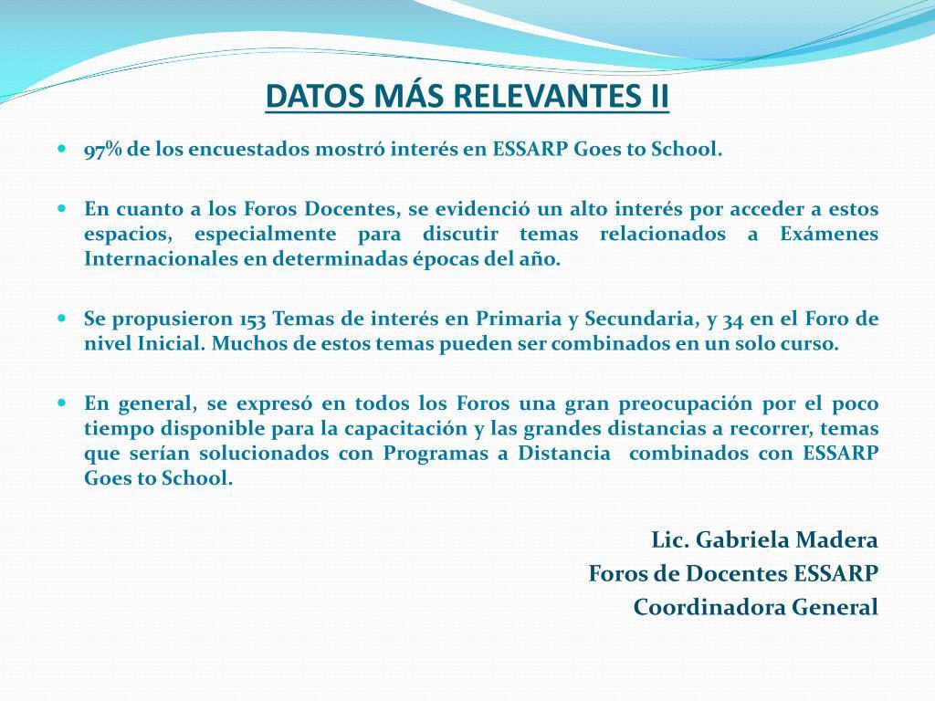 DATOS MÁS RELEVANTES II
