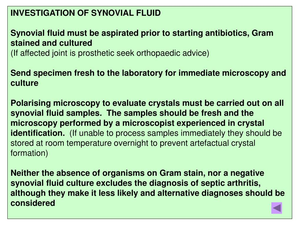 INVESTIGATION OF SYNOVIAL FLUID