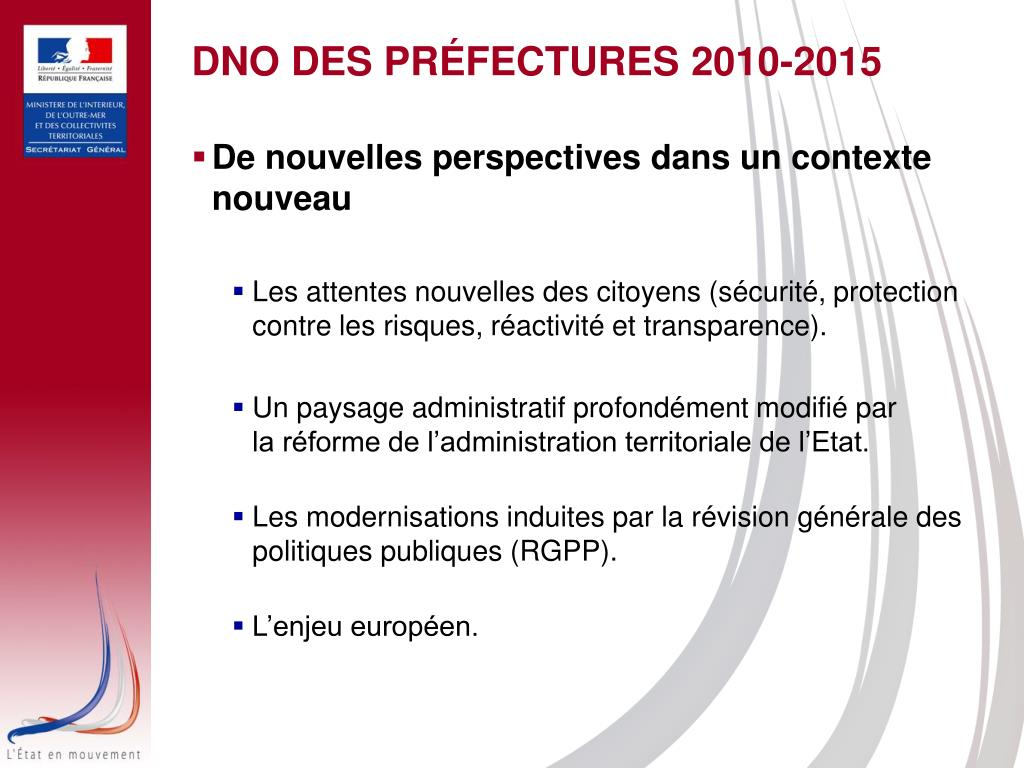 DNO DES PRÉFECTURES 2010-2015