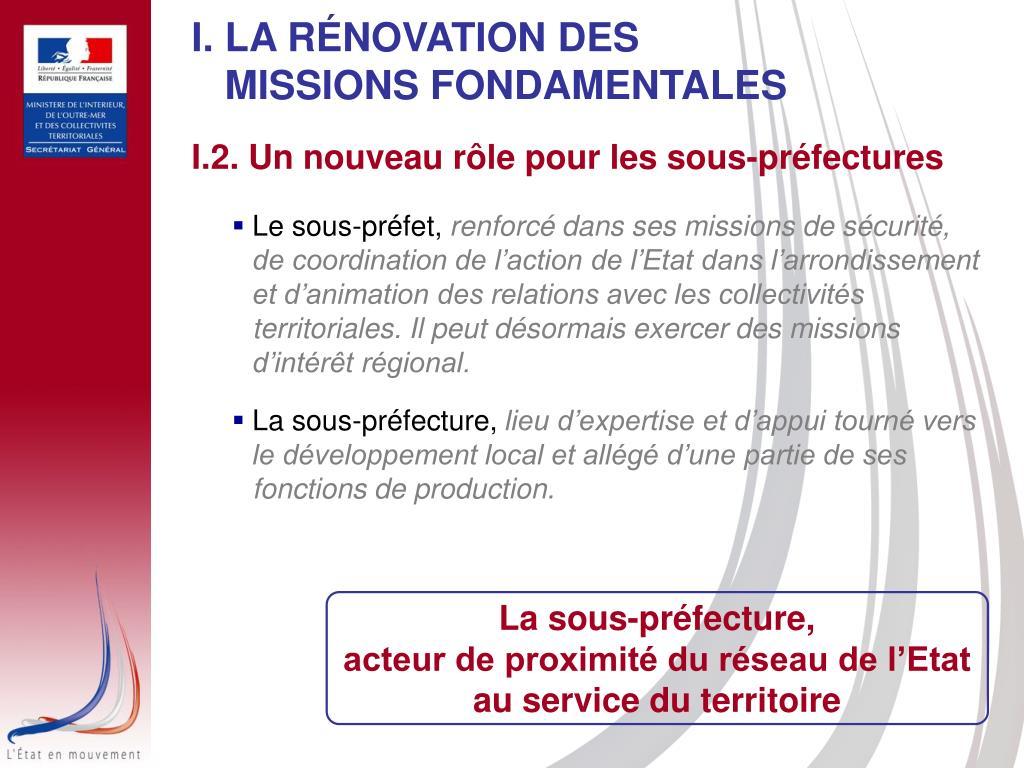 I. LA RÉNOVATION DES