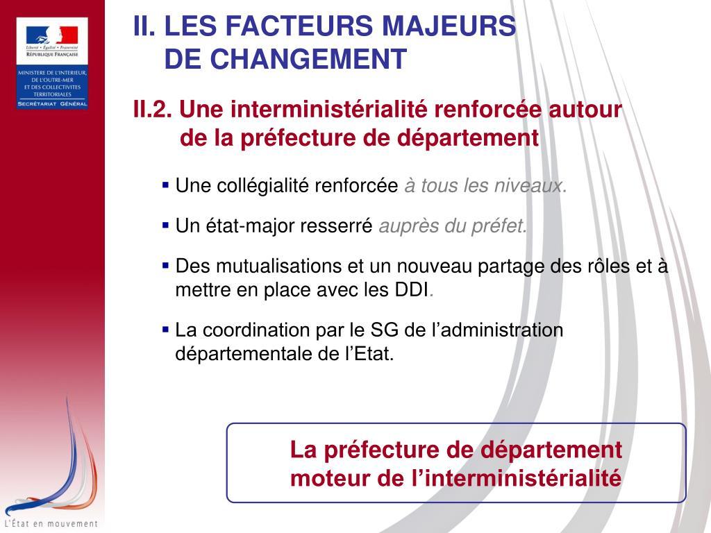 II. LES FACTEURS MAJEURS