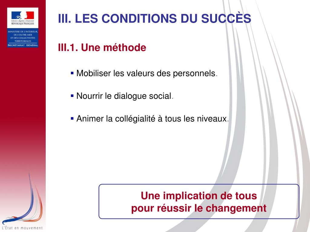 III. LES CONDITIONS DU SUCCÈS