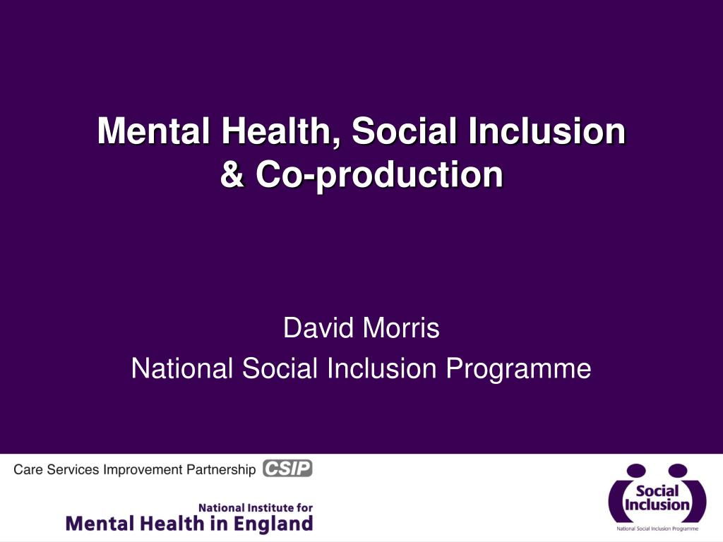 mental health and social inclusion Thank you for the opportunity to speak today it is honour to be here today to help recognise the people who try to make a difference to some of the most vulnerable and marginalised people in our community.