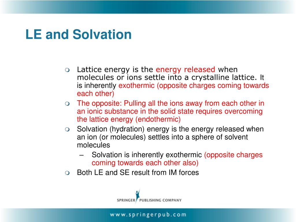LE and Solvation