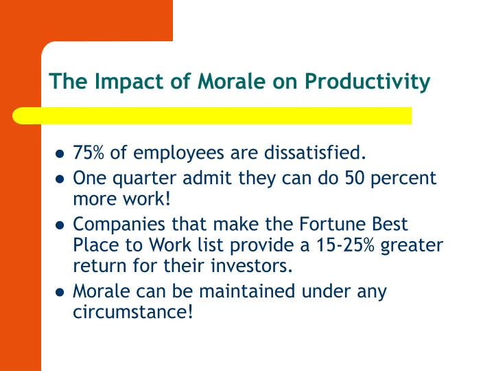 The impact of morale on productivity l.jpg