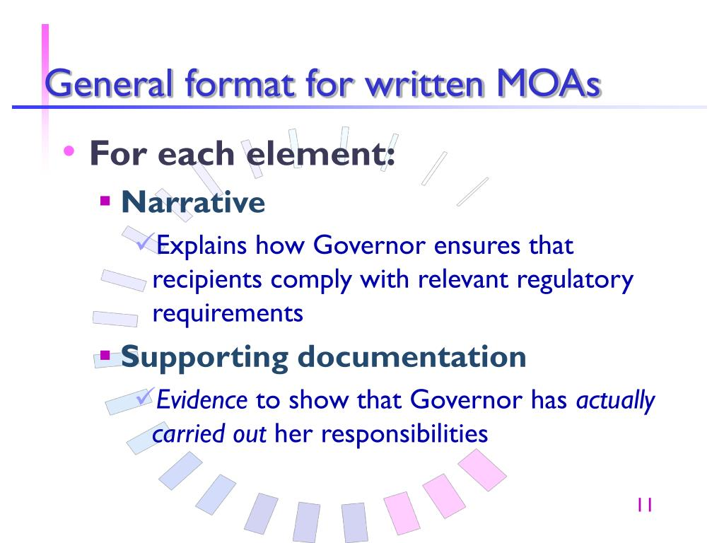 General format for written MOAs
