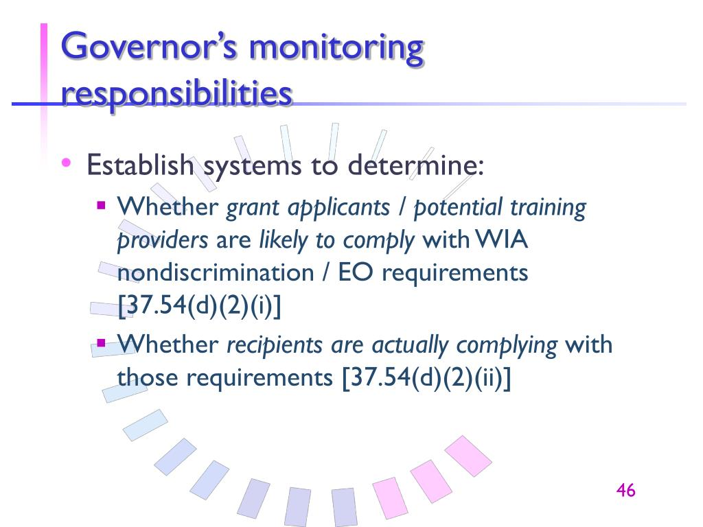 Governor's monitoring responsibilities