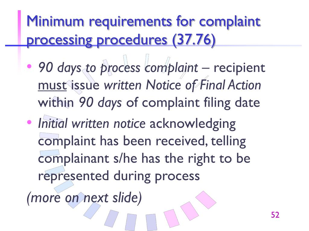 Minimum requirements for complaint processing procedures (37.76)