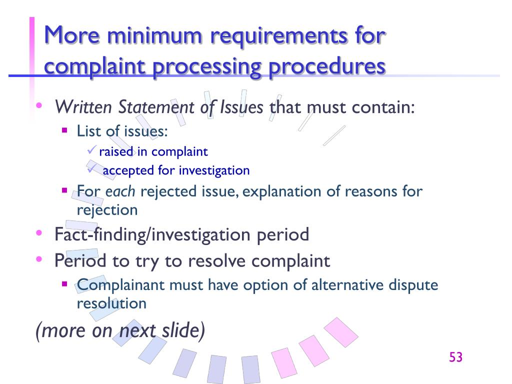 More minimum requirements for complaint processing procedures