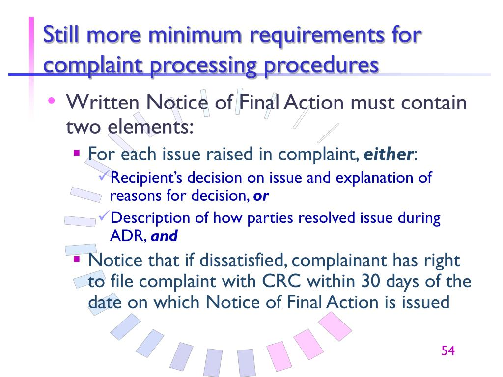 Still more minimum requirements for complaint processing procedures