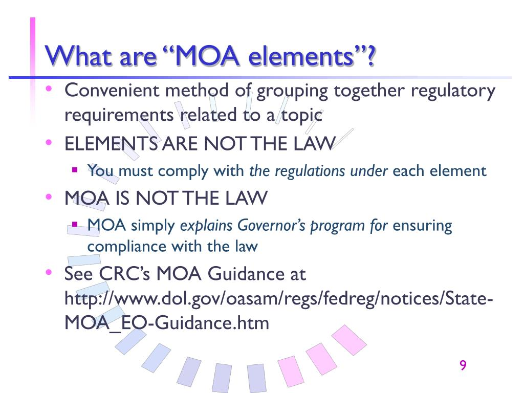 "What are ""MOA elements""?"