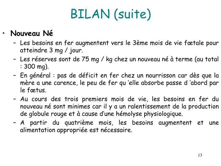 BILAN (suite)