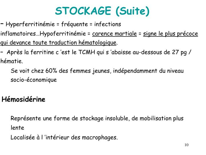 STOCKAGE (Suite)
