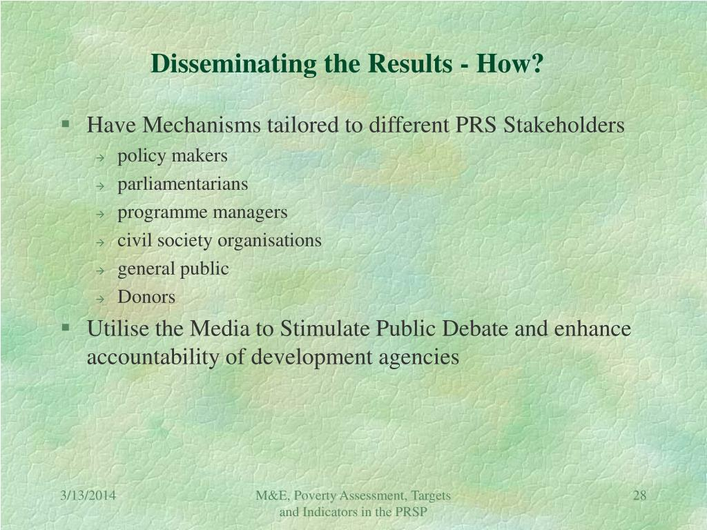 Disseminating the Results - How?