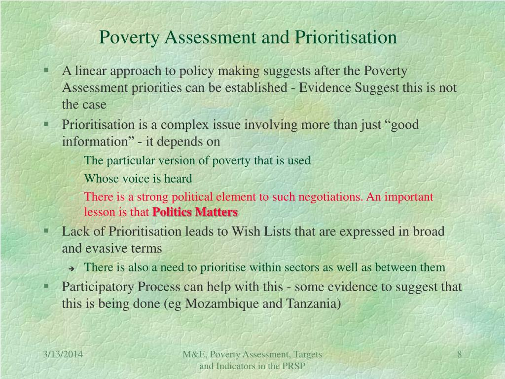 Poverty Assessment and Prioritisation