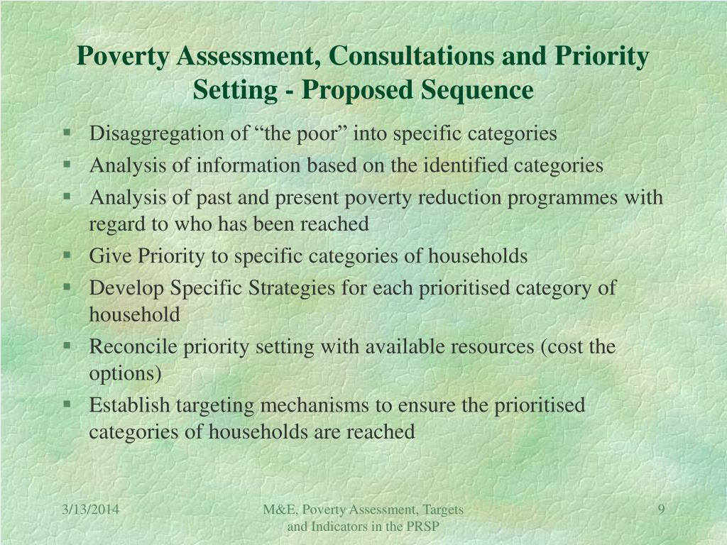 Poverty Assessment, Consultations and Priority Setting - Proposed Sequence