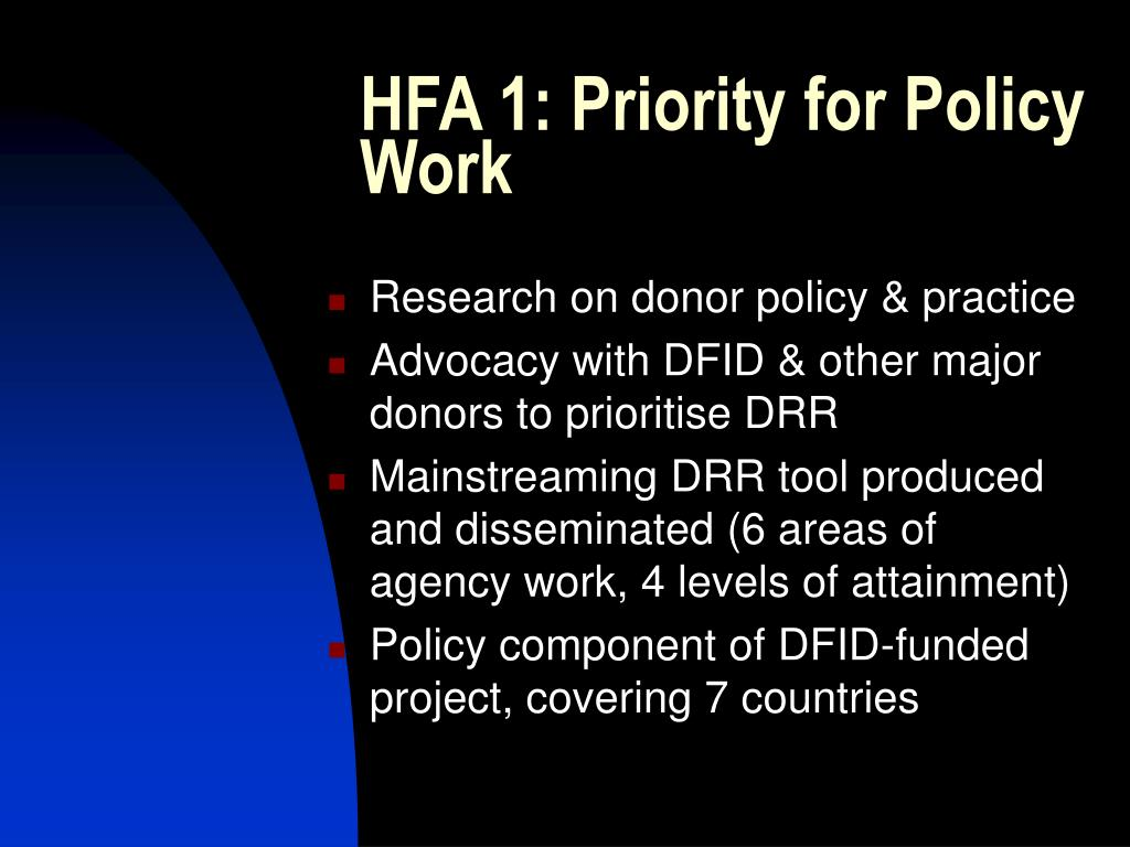 HFA 1: Priority for Policy Work