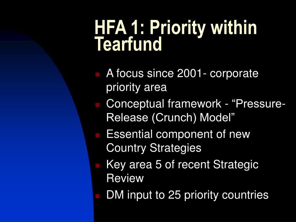 HFA 1: Priority within Tearfund