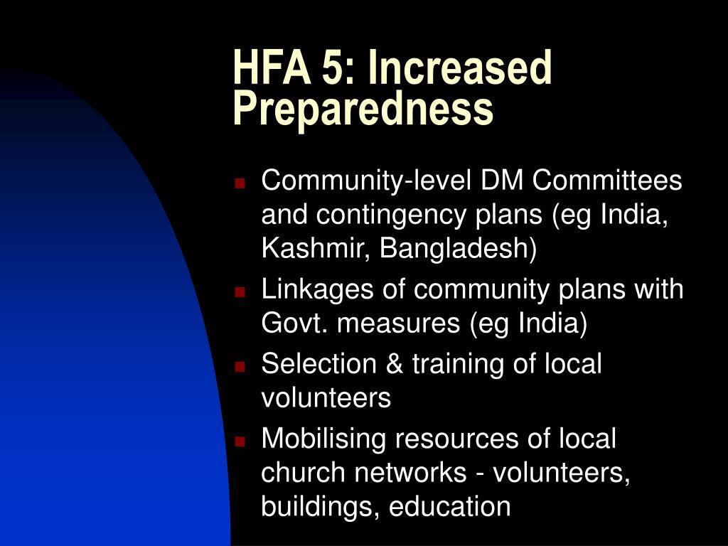HFA 5: Increased Preparedness