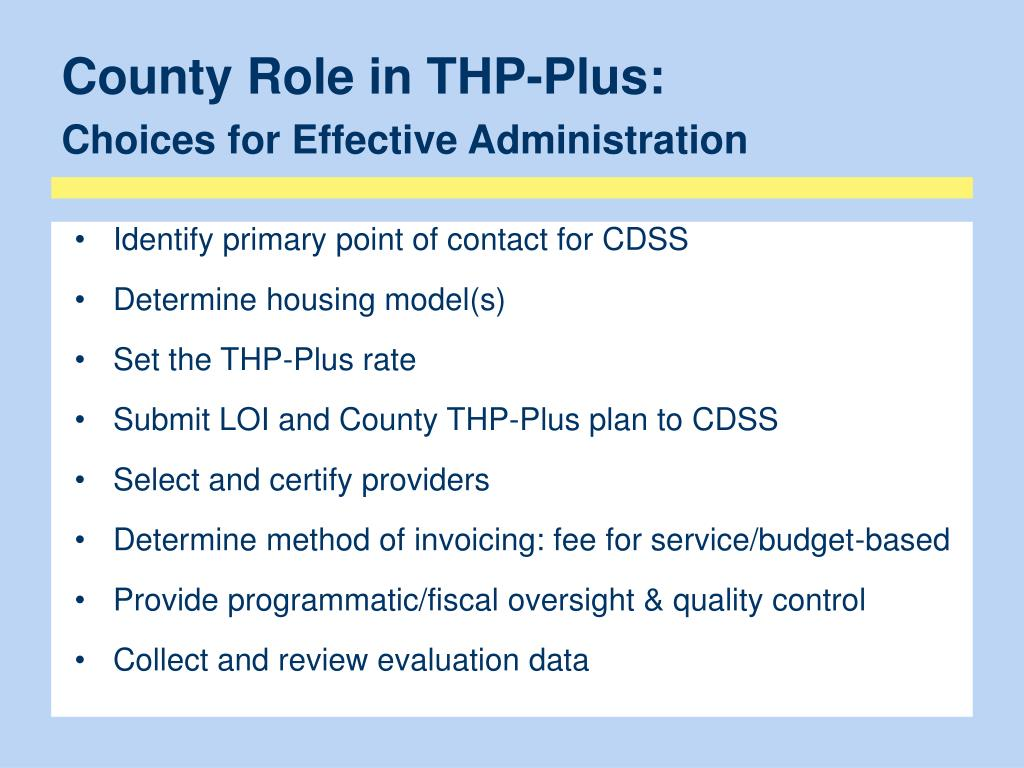 County Role in THP-Plus: