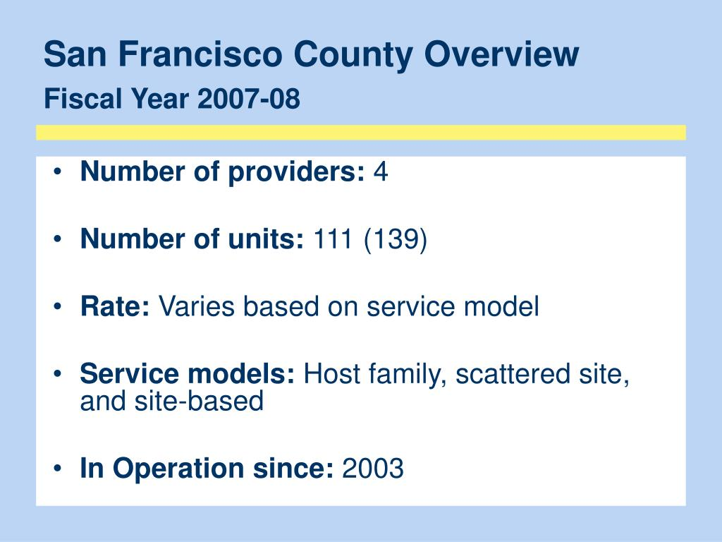 San Francisco County Overview