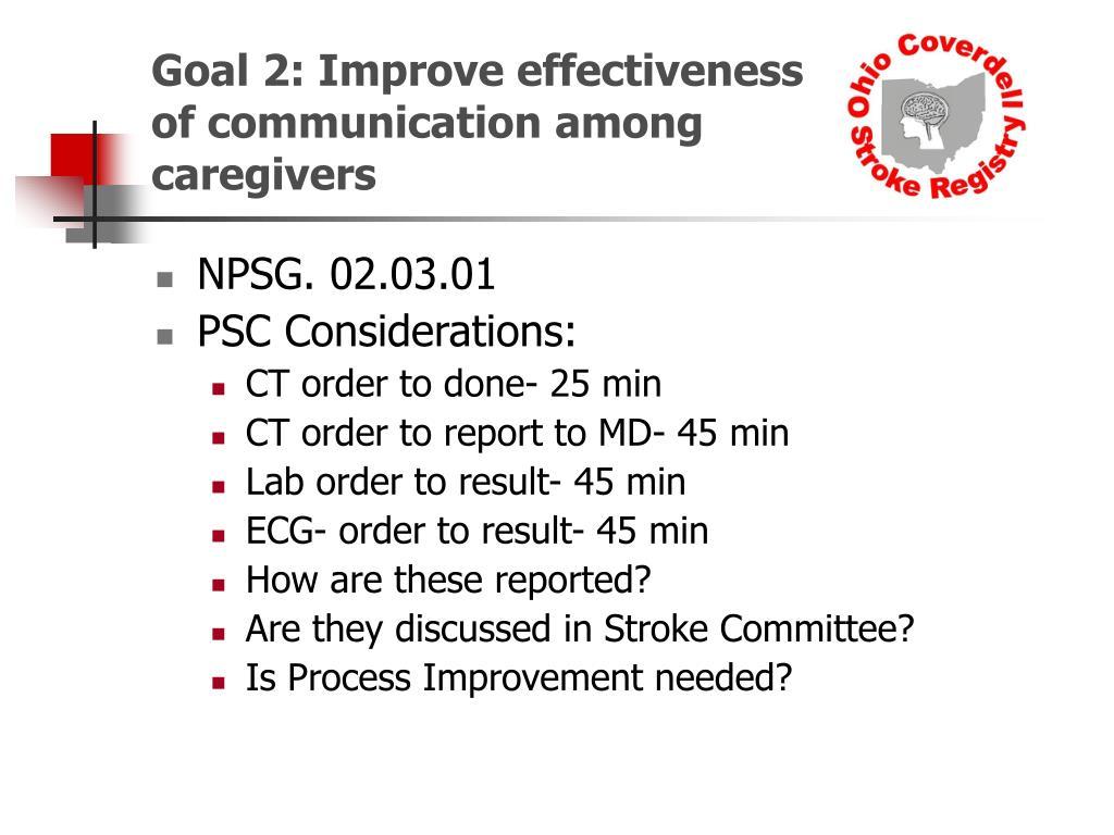 Goal 2: Improve effectiveness