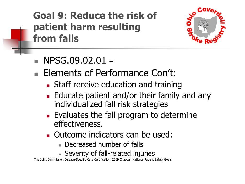 Goal 9: Reduce the risk of